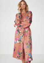 Cotton On - Longline cuffed sleeve floral gown - multi