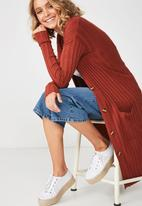 Cotton On - Quinnie buttoned longline cardigan - red