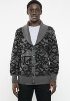 Superbalist - Chunky shawl collar pattern cardi - grey & black