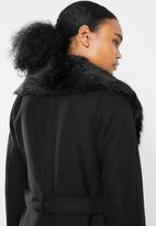 Brave Soul - Maxi wool-like coat with detachable collar - black