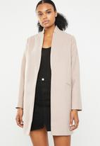Missguided - Inverted collar formal coat - pink