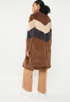 Missguided - Longline colourblock coat - multi
