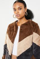 Missguided - Longline colourblock coat - multi