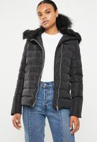 Brave Soul - Padded jacket with detachable faux fur collar - black