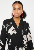 ONLY - Nova lux printed wrap 3/4 sleeve jumpsuit - multi