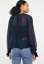 Superbalist - Gauged raglan sleeve blouse - navy