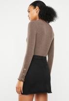 Superbalist - Textured knit button detail top - brown