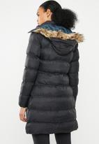Brave Soul - Longer length padded jacket with detachable hood - black