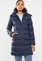Brave Soul - Longer length padded jacket with detachable hood - navy