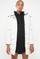 Brave Soul - Longer length padded jacket with tape detail - neutral