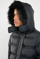 Brave Soul - Longer length padded jacket with tape detail - black