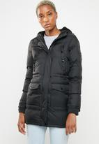 Brave Soul - Padded parka with lined hood and ribbed cuffs - black