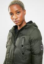 Brave Soul - Padded parka with lined hood and ribbed cuffs - khaki