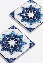 Kitchen Craft - Ceramic cork back coasters set of 4 - blue motif