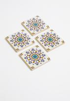 Kitchen Craft - Ceramic cork back coasters set of 4 - mustard floral