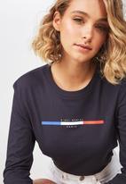 Cotton On - Classic slogan long sleeve tee - navy