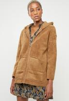 Missguided - Reversible zip through borg jacket - tan