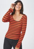 Cotton On - Double scoop long sleeve top - multi