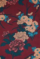 Revenge - Floral bell sleeve top - burgundy