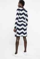 Revenge - Zig zag cross front dress - navy & grey