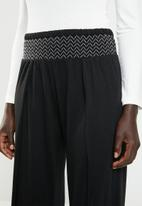 New Look - Shirred wide leg trousers - black