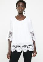 Revenge - Lace border round neck top - white