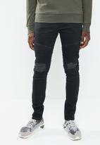 Superbalist - Biker abrasions jeans - black