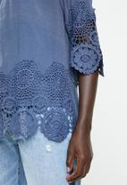 Revenge - Lace border round neck top - navy