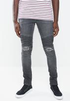 Superbalist - Biker abrasions jeans - grey