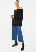 Brave Soul - Chunky bardot knit - black