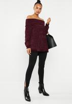 Brave Soul - Chunky bardot knit - burgundy