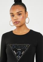 ae4cdc1b Long sleeve embellished tri T-shirt - jet black GUESS T-Shirts ...