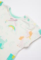 Baby Corner - Unicorn 2 piece top & short set - blue & green
