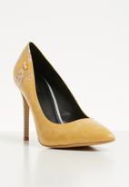 Plum - Zebra print stiletto heel - yellow