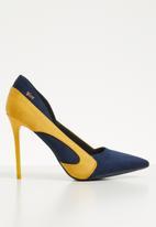 Plum - Stiletto heel - navy & yellow