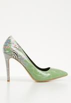 Plum - Zebra print stiletto heel - green
