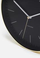 Present Time - Minimal wall clock - black/gold