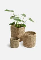 Sixth Floor - Seagrass storage baskets set of 3 - natural