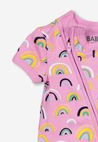 Cotton On - Mini short sleevs zip through romper - multi