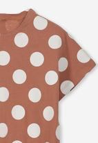 Cotton On - Penelope short sleeve tee - brown & white