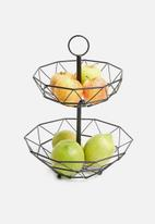 Present Time - Diamond cut fruit basket - matte black