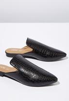 Cotton On - Faux crocodile leather pointed slipper mule - black