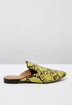 Cotton On - Faux leather snake print pointed slipper mule - green & black