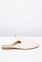 Cotton On - Woven pointed slipper mule - white