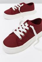 Cotton On - Canvas platform sneaker - red