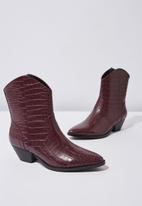 Cotton On - Larissa western boot - burgundy
