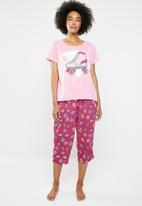 c(inch) - Sleep tee and capri pants sleep set - pink
