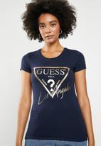 GUESS - Short sleeve guess LA T-shirt - navy
