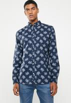 Jack & Jones - Adam printed long sleeve shirt - navy