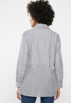 dailyfriday - Stripe embroidered shirt - black & white